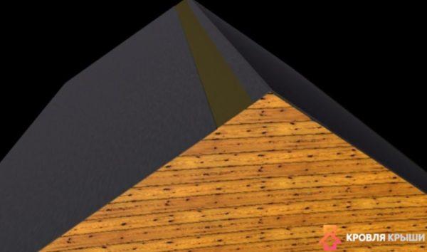 Конек перекрыт рубероидом с одной стороны