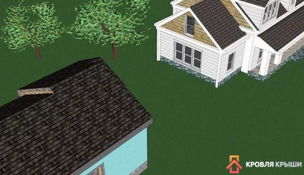 Можете учитывать цвет кровли соседних домов