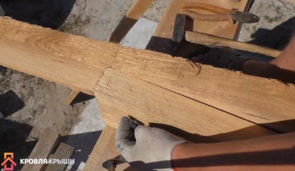 Крепление стропилины со стороны мауэрлата