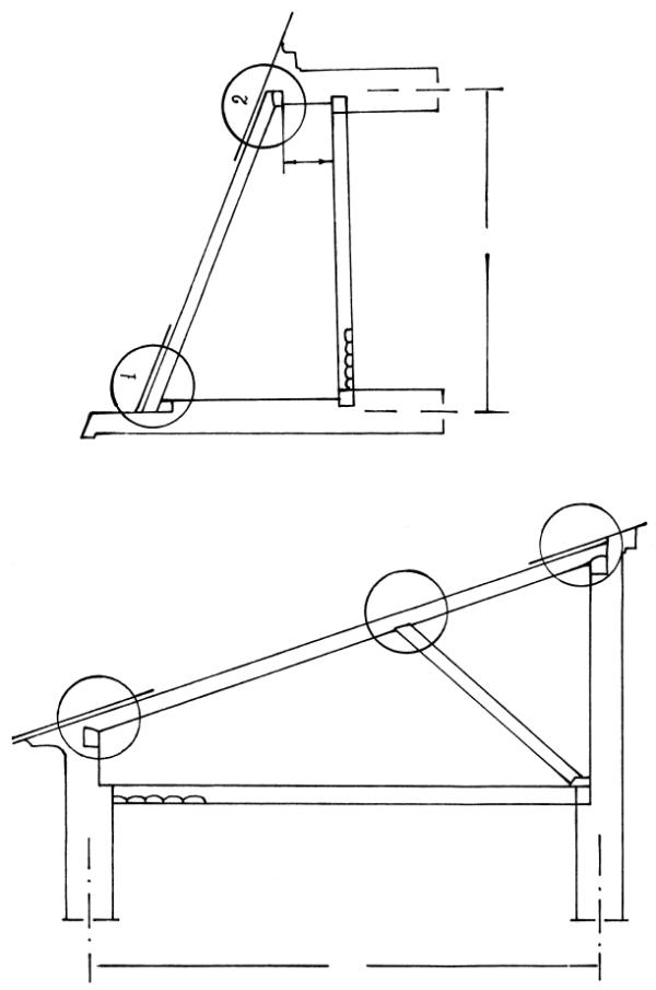 При наличии одной промежуточной опоры стропильные ноги опирают на мауэрлаты наружных стен и на продольный прогон, опертый на стойки