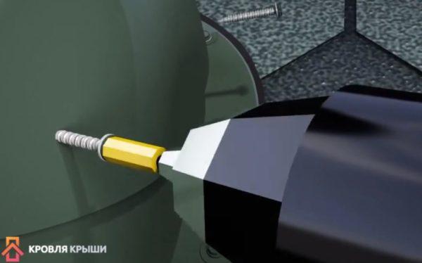 Прикручивание трубы к колпаку
