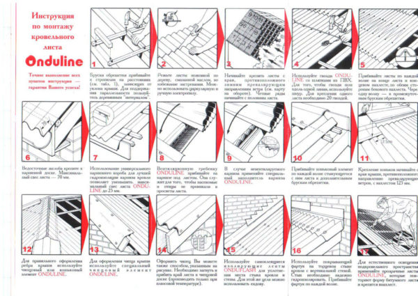 Схема этапов монтажа ондулина