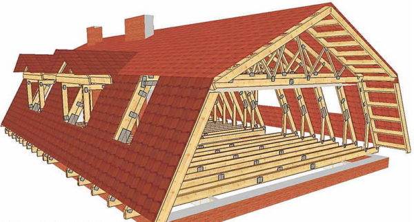 Стропильная система ломаной крыши