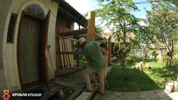 Установка деревянных колонн