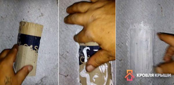 Приклеивание заплатки и нанесение герметика
