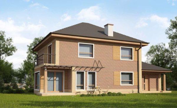 Четырехскатная крыша двухэтажного загородного дома. Большие свесы хорошо защищают стены от дождя и снега