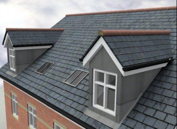 Еще один вариант встройки в крышу полноценных окон