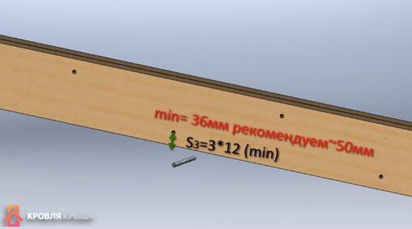 Минимальное расстояние от края доски