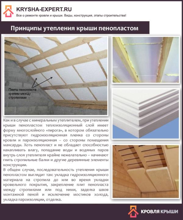 Принципы утепления крыши пенопластом