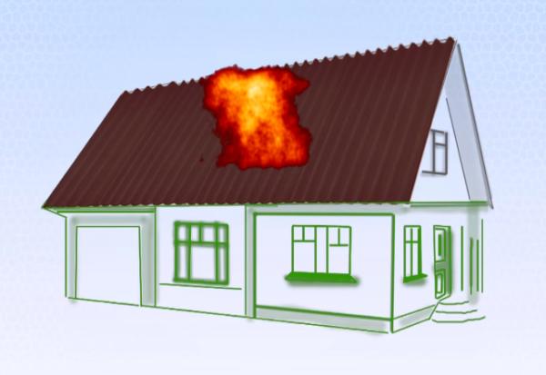 Кровельный материал пожароопасен