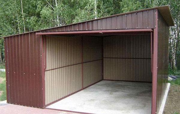 Гараж из профлиста высота ворот металлического гаража