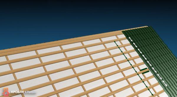 Расстояние между центрами досок должно быть равным шагу волны металлочерепицы