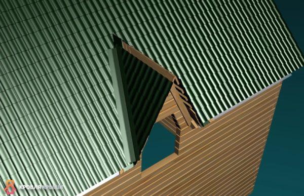 На нижнюю ендовную планку укладывают листы металлочерепицы и крепят верхнюю ендовную планку