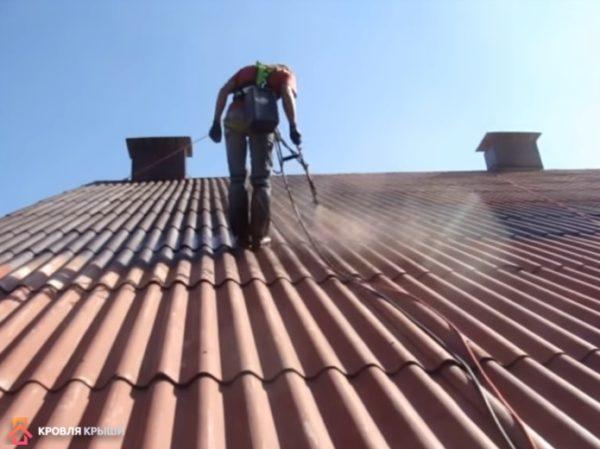 Покраску крыши удобнее всего осуществлять электрокраскопультом