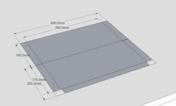 Размеры заготовки для нижней части фартука