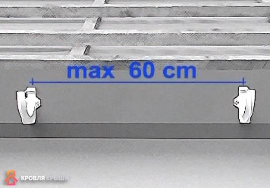 Расстояние между кронштейнами не более 60 см