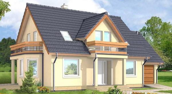 Каркасный дом с балконами