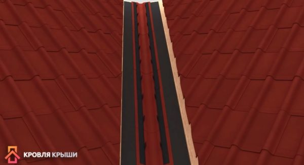Схема укладки ондулина поверх ендовы