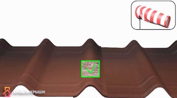 Схема правильного нахлеста листов с учетом направления ветра