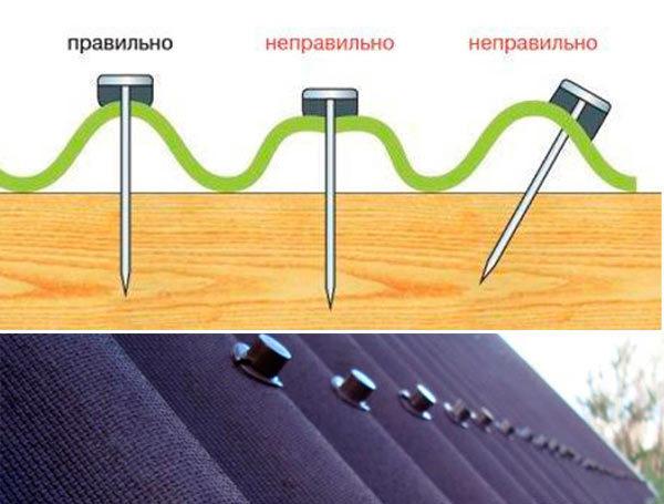 Схема крепления ондулина гвоздями