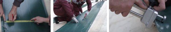 Для крепления листа на торце выполняют подрезку элемента и загибают обрезанный край