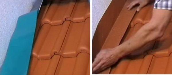 Снимают защитную пленку и крепят ленту к стене