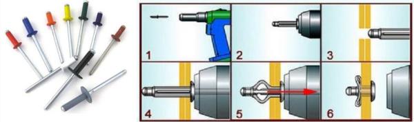 Металлический шифер можно крепить к металлу с помощью вытяжных заклепок