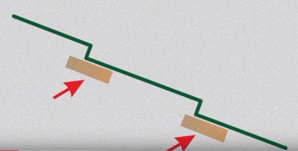 Кронштейны крепятся к обрешетке, доски которой проходят под каждым изломом металлочерепицы
