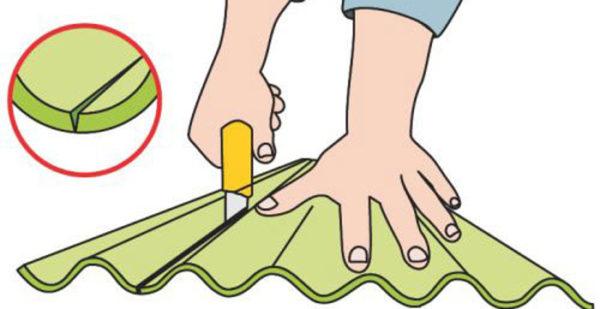 При отсутствии других инструментов резать листы можно монтажным ножом, но этот способ больше подходит для еврошифера