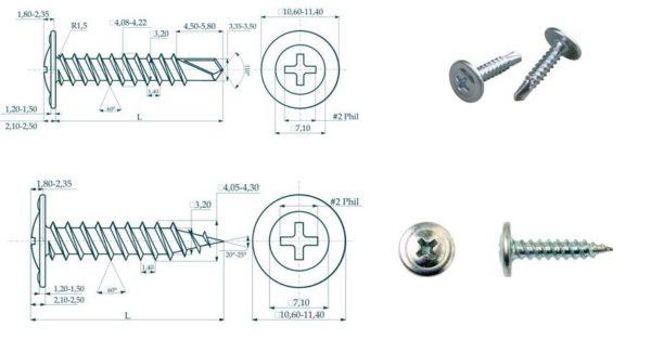 Основные параметры саморезов по металлу