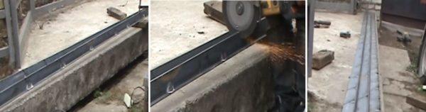 Изготавливают металлическую балку из профилей для окантовки площадки