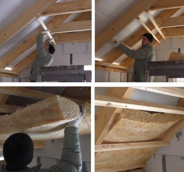 Набивают на стропила рейки, чтобы вата не выпадала, и вставляют между досками утеплитель