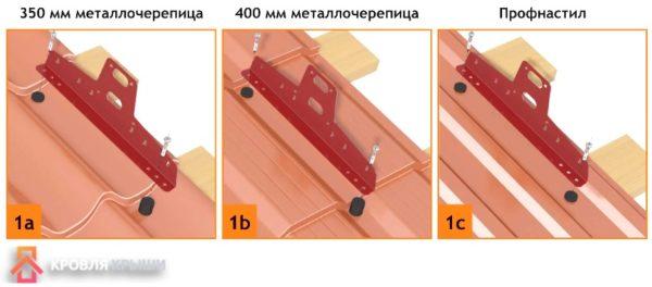 Схема монтажа снегозадержателя