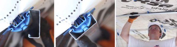 На пластиковые защелки надевают профиль для гипсокартона
