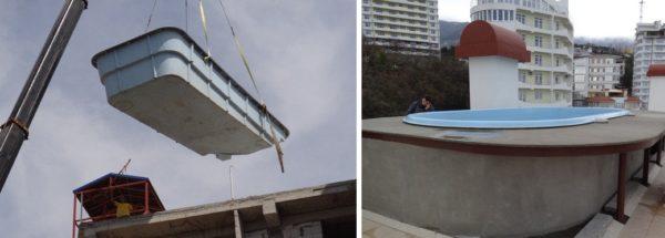Установка стационарного бассейна осуществляется еще на этапе строительства крыши и требует перекрытий повышенной прочности