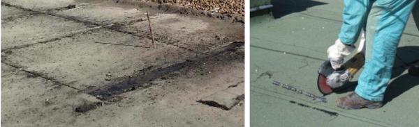 В нескольких местах кровли болгаркой вырезают куски покрытия