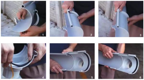 Крепление желоба защелками сгерметизацией резиновыми уплотнителями