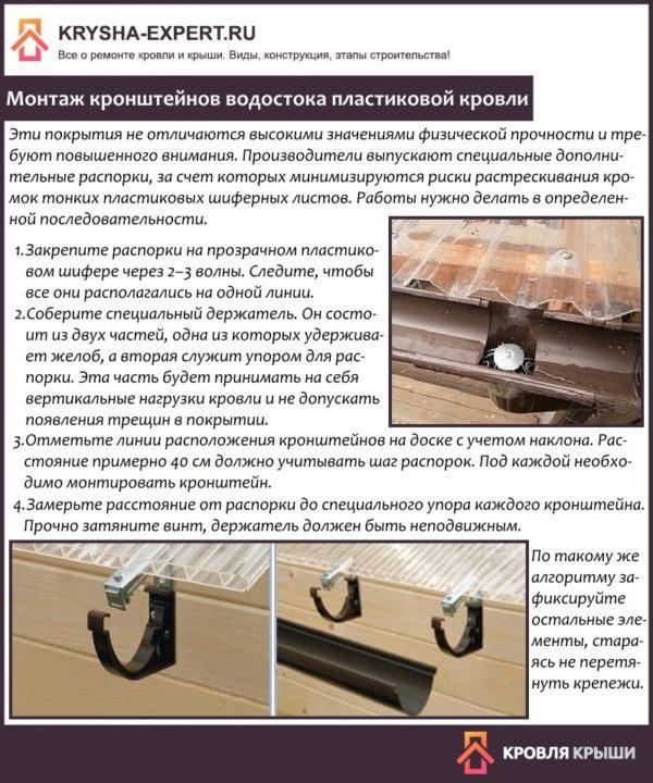 Монтаж кронштейнов водостока пластиковой кровли