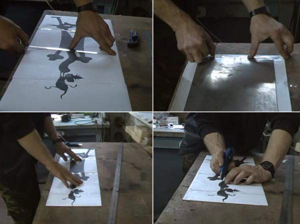Эскиз приклеивают к стальной пластине и вырезают мелкие элементы, контур