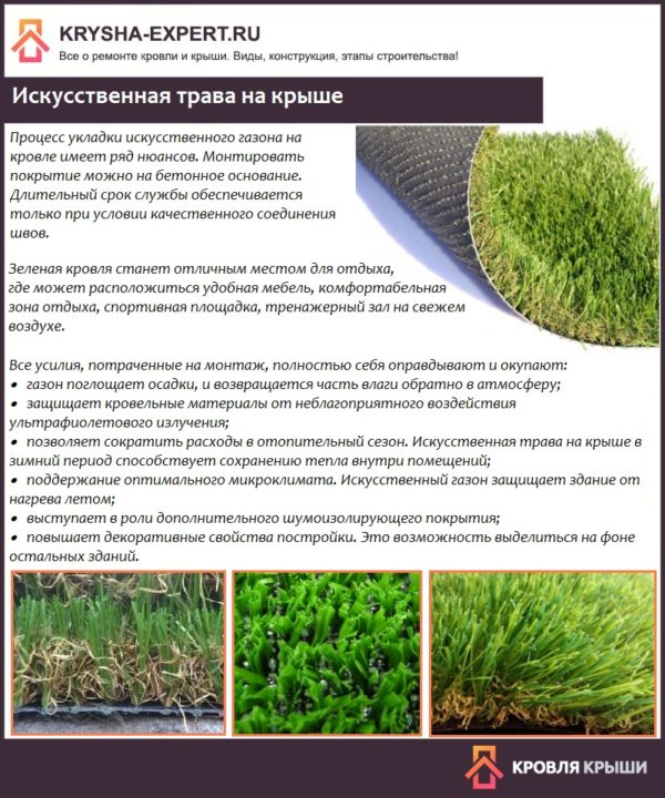 Искусственная трава на крыше