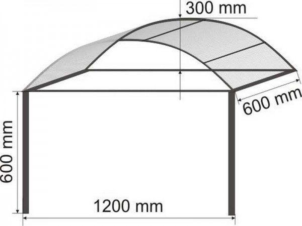 Арочный навес - один из самых распространенных вариантов, отличающихся простотой изготовления