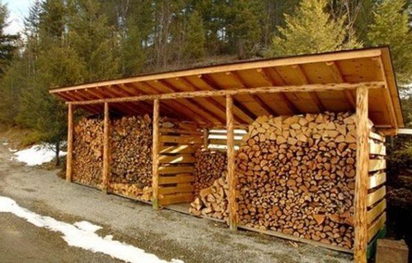 Навес может использоваться для защиты дров от дождя и снега