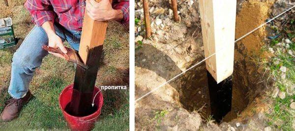 Перед бетонированием нижнюю часть опор обязательно обрабатывают защитным составом