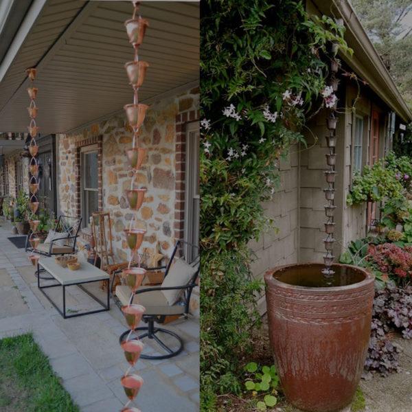 Декоративные элементы, из которых делают дождевые цепи, во время дождя издают приятные звуки