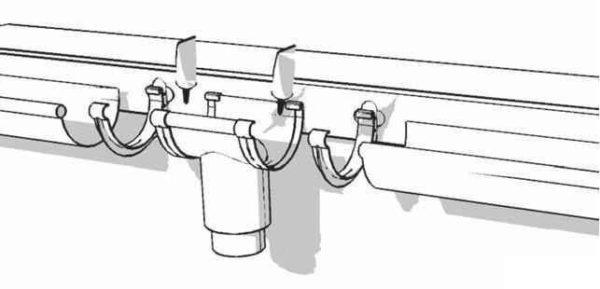 Соединение водосточных желобов с воронкой. Желоб укладывается на кронштейны, примыкающие к воронке с учетом линейного расширения пластика