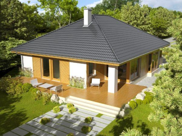 Вальмовая крыша позволяет сэкономить на возведении фронтонов дома