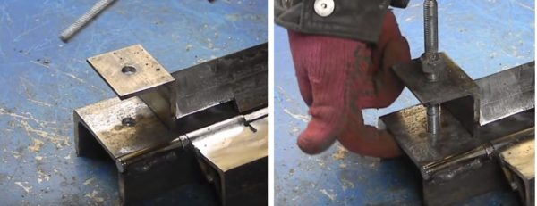 С помощью отрезков уголка и шпильки делают крепежный механизм для станка