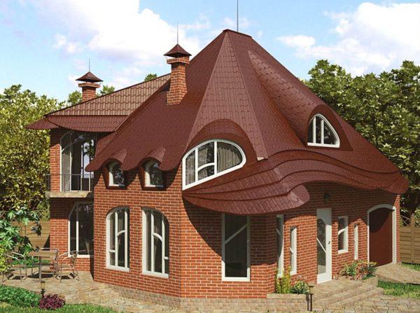 Нестандартный дизайн крыши частного дома