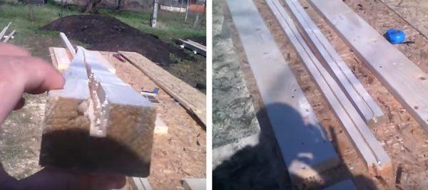 В рейках вырезают продольные канавки по толщине плиты