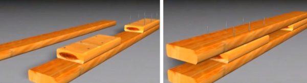 Вертикальные опоры собирают из двух досок и отрезков, расположенных между ними